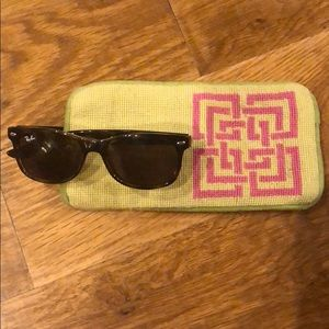 TRINA TURK Needlepoint Greek Key Sunglasses Case